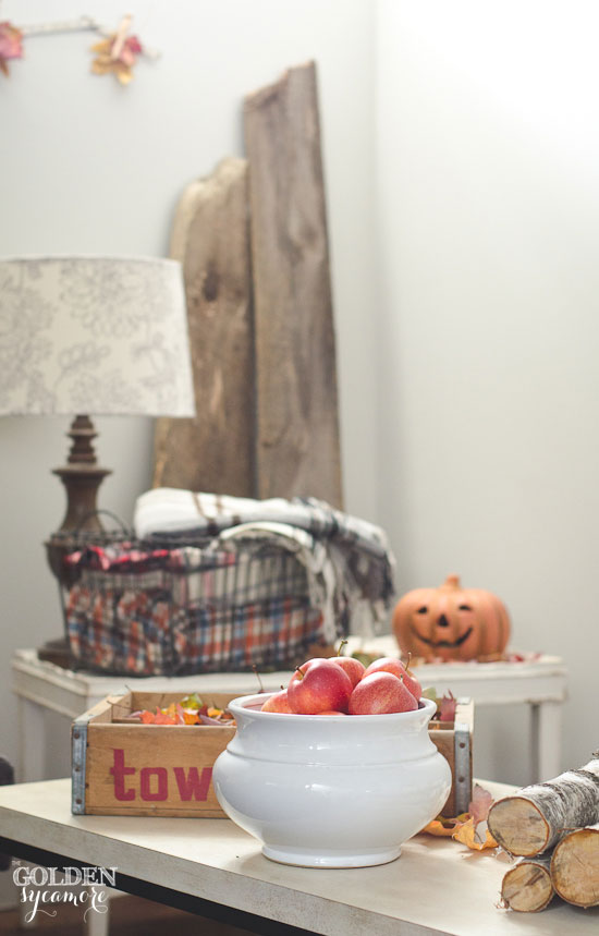 Fall decorating with apples, plaid blankets, fresh fallen leaves, and barn wood