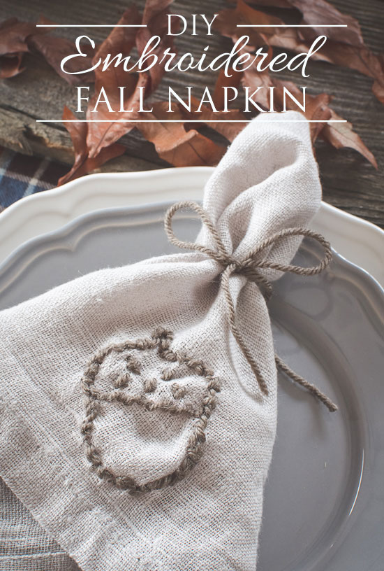 DIY embroidered fall napkin