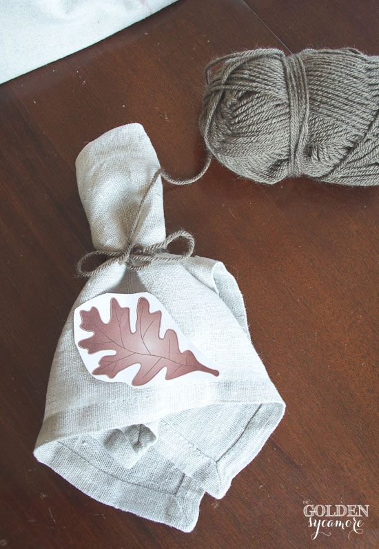 DIY embroidered leaf napkin