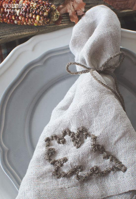 Embroidered fall napkin with oak leaf