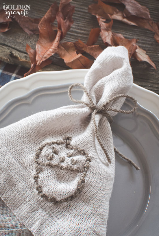 Embroidered napkin with fall acorn