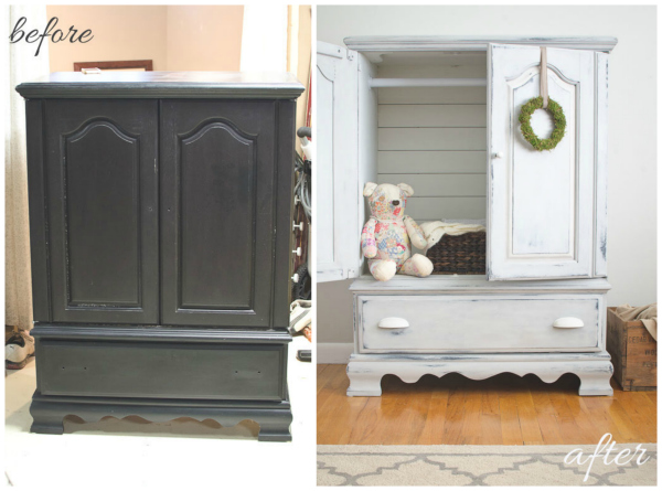 Repurposed entertainment center to armoire before and after | via www.thegoldensycamore.com