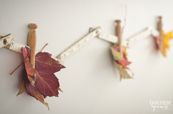 Fall leaves and vintage carpenters ruler