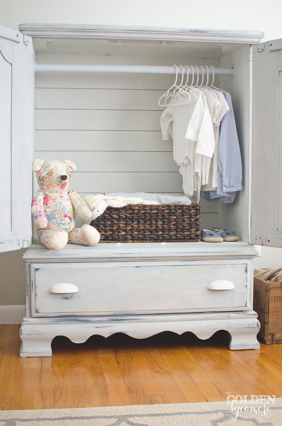 Armoire makeover with planked back | via www.thegoldensycamore.com