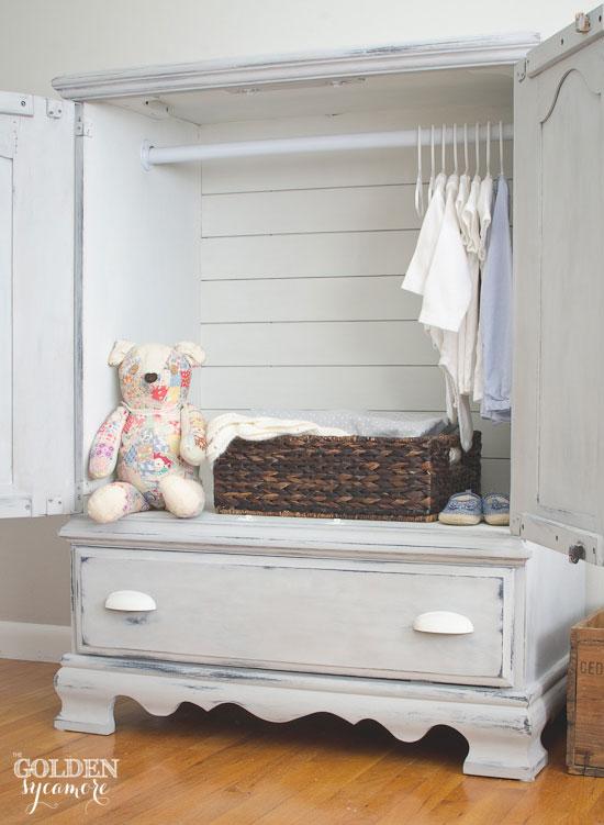 Turn a tv entertainment center into a child's armoire | via www.thegoldensycamore.com