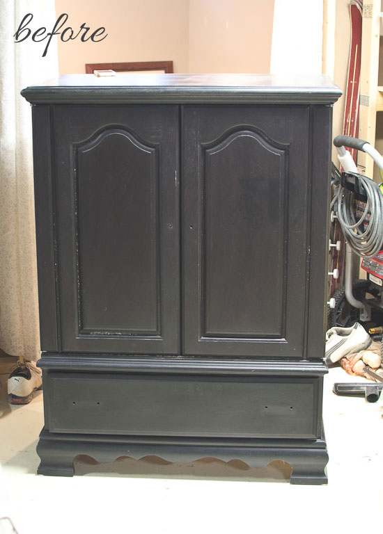 TV entertainment center to armoire makeover - before | via www.thegoldensycamore.com