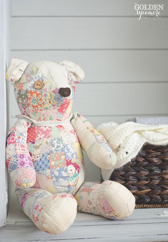 Vintage patchwork stuffed bear | via www.thegoldensycamore.com