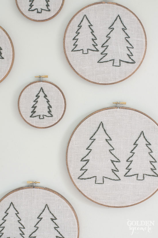 DIY embroidered pine trees - thegoldensycamore.com