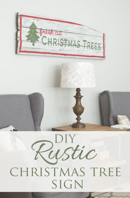DIY rustic Christmas tree sign - thegoldensycamore.com