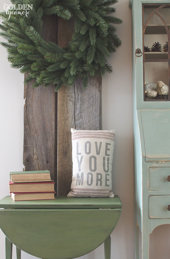 Boxwood green milk painted folding leaf end table makeover