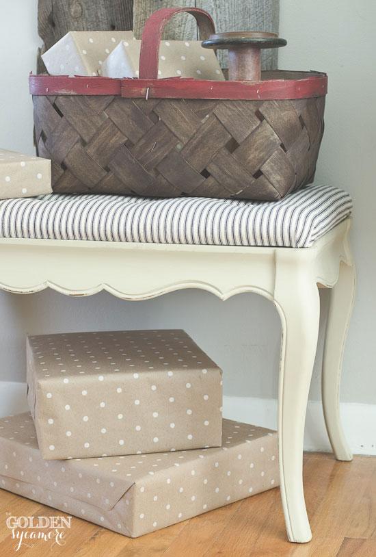 Flea market find - tufted bench makeover