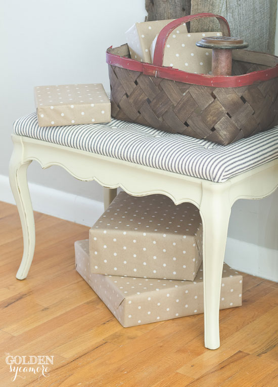 Flea market find - tufted bench makeover