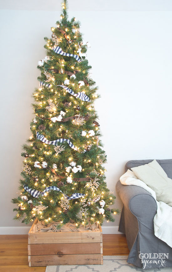 Neutral rustic Christmas tree with DIY Christmas tree stand box