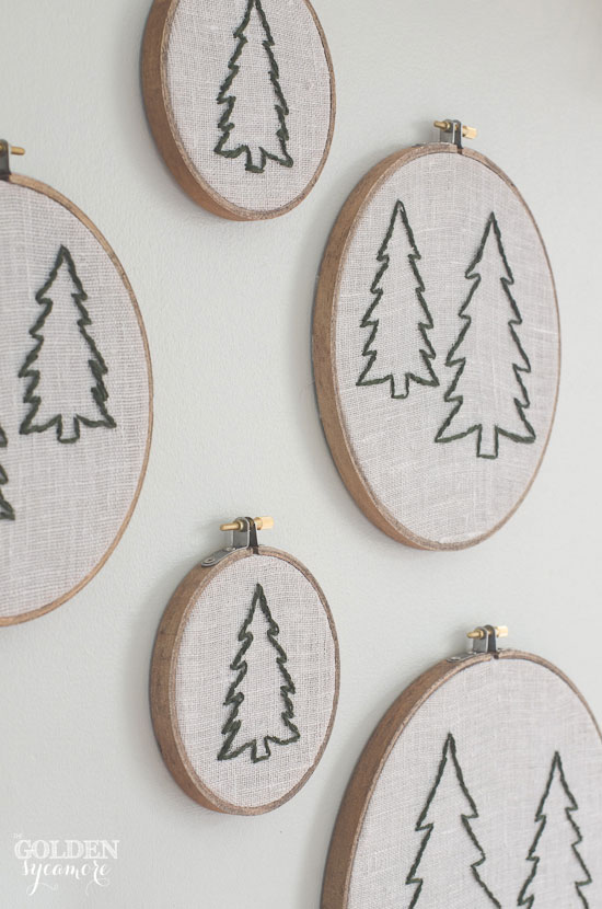 Embroidery hoop pine tree forest art via www.thegoldensycamore.com