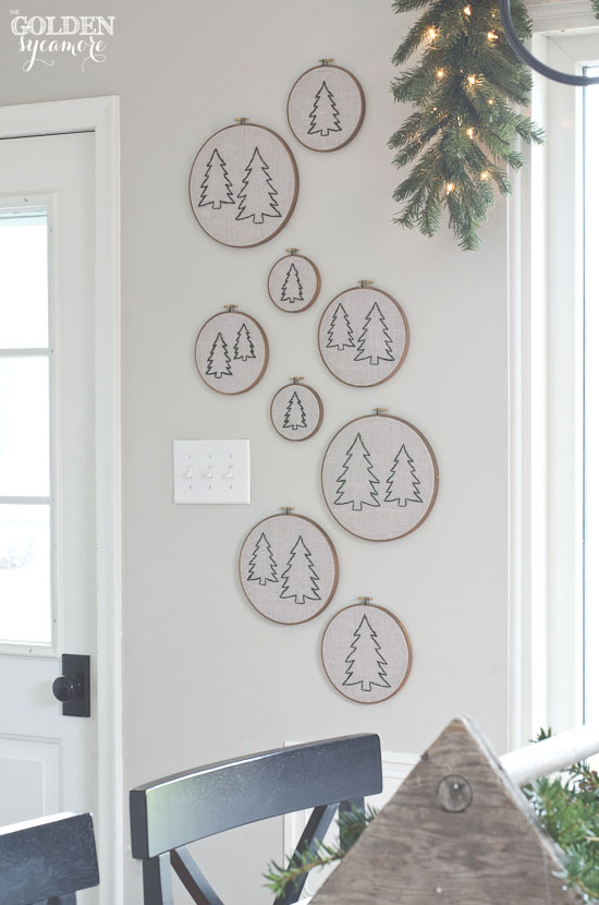Pine tree embroidery hoop wall art - thegoldensycamore.com