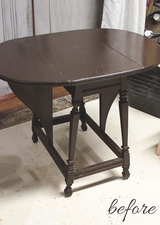 folding leaf table before
