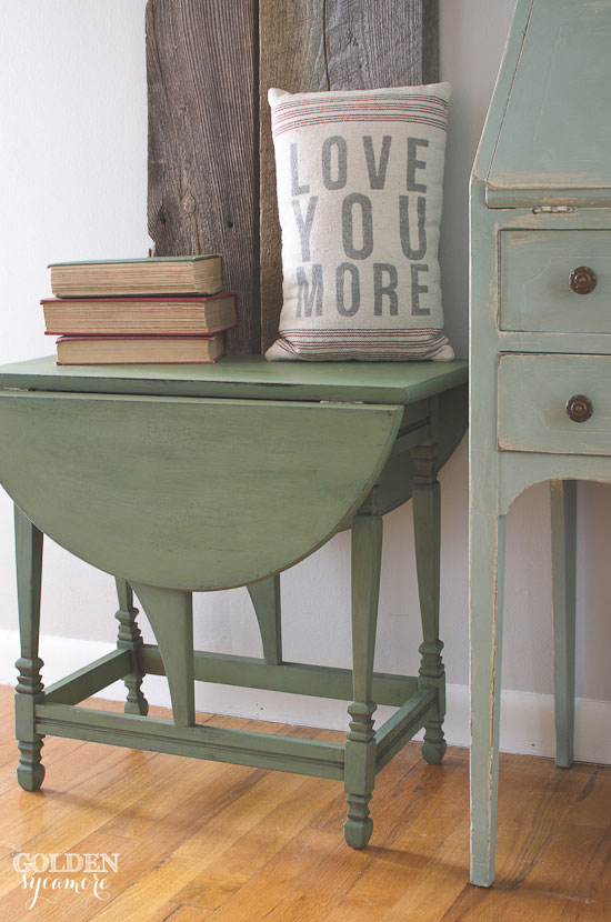 Green Milk Painted End Table Makeover