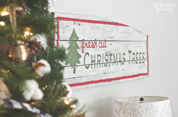 Milk painted fresh cut Christmas trees rustic sign - thegoldensycamore.com