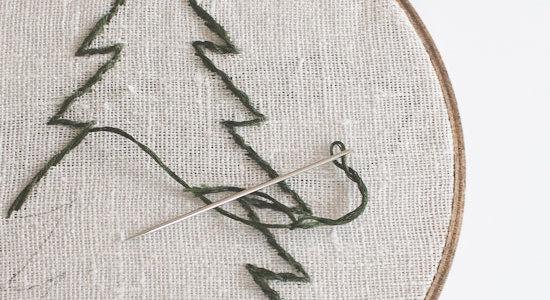 Christmas Tree Embroidery Hoop Wall Art