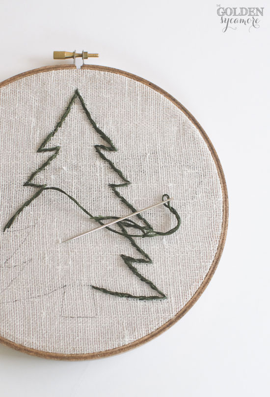 Pine tree embroidered hoop art - thegoldensycamore.com