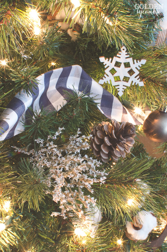 Rustic Christmas tree with DIY fabric ribbon garland