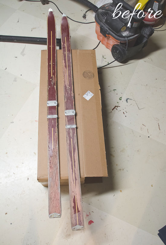 Vintage red skis - before