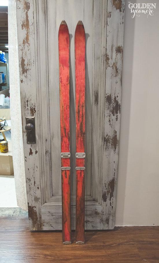 Vintage red skis - in progress