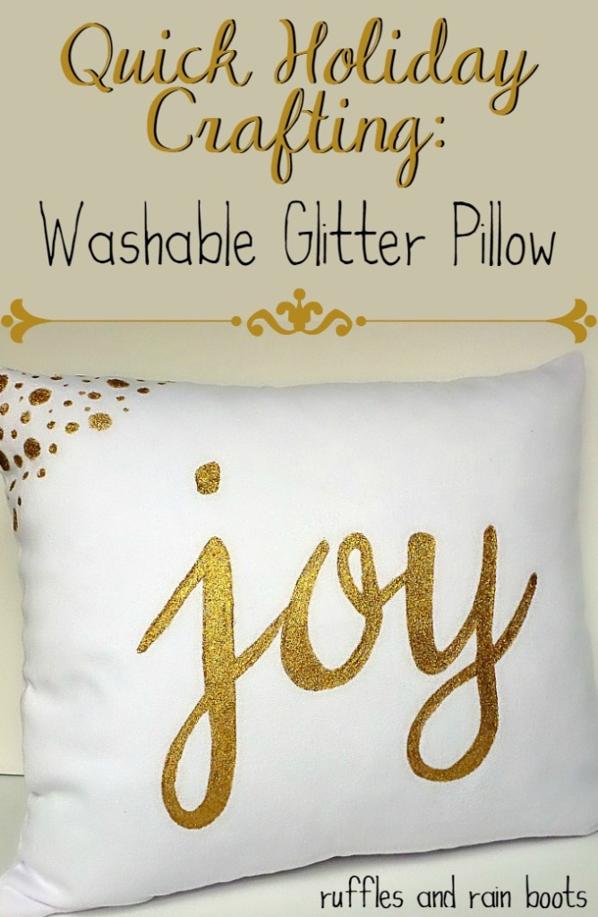 "Washable Glitter ""JOY"" Pillow"