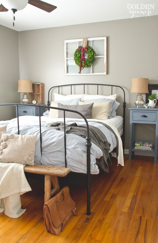 Fancy Black iron Ikea bed frame in rustic cottage bedroom thegoldensycamore