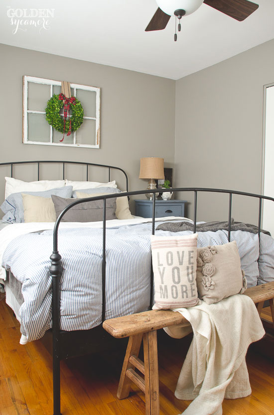 Fabulous Black iron Ikea bed frame in rustic cottage bedroom thegoldensycamore