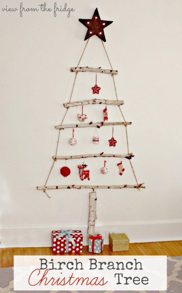 DIY birch branch christmas tree