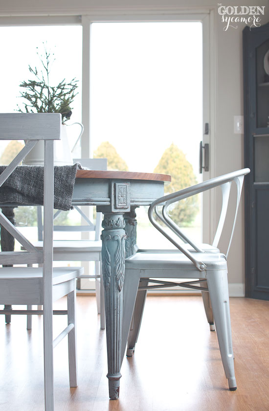 Unique Light blue milk painted dining table with metal chairs