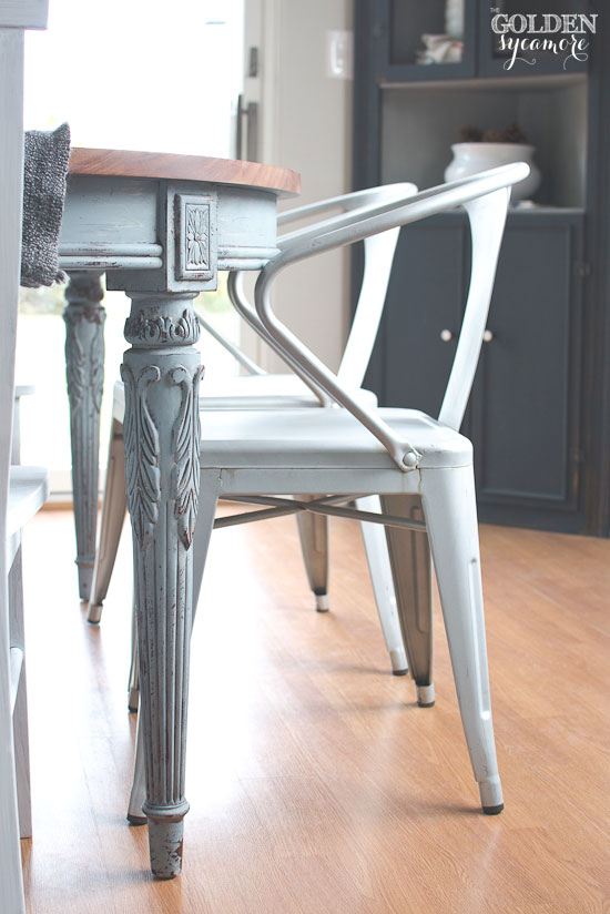 Great Light blue milk painted dining table with metal chairs