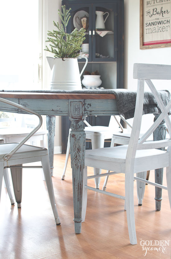 Light Blue Milk Painted Dining Table With Metal Chairs