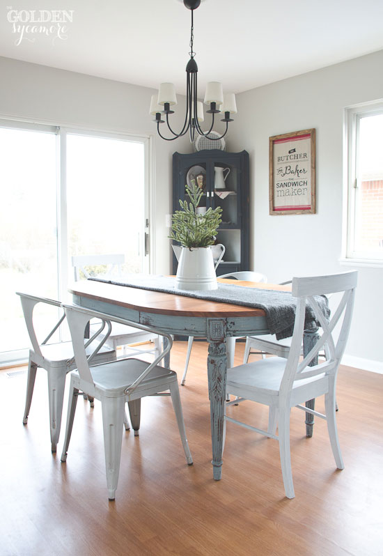 Light blue milk painted dining table with metal chairs. Painted Dining Table     Finally    The Golden Sycamore