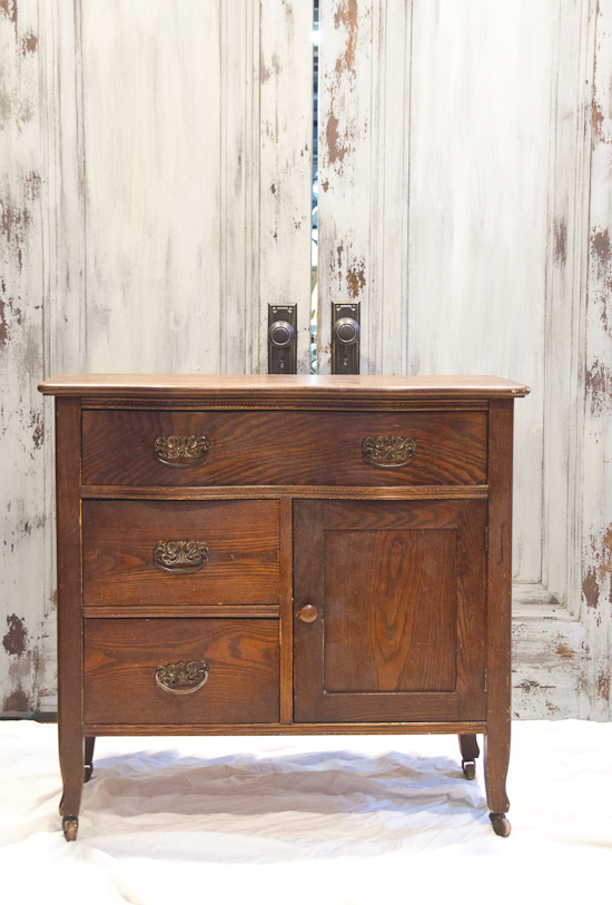 Milk Painted Wash Stand Turned Small End Table Dresser   Before