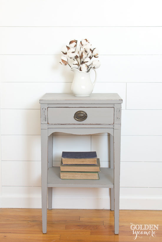 Cute gray milk painted end table - thegoldensycamore.com