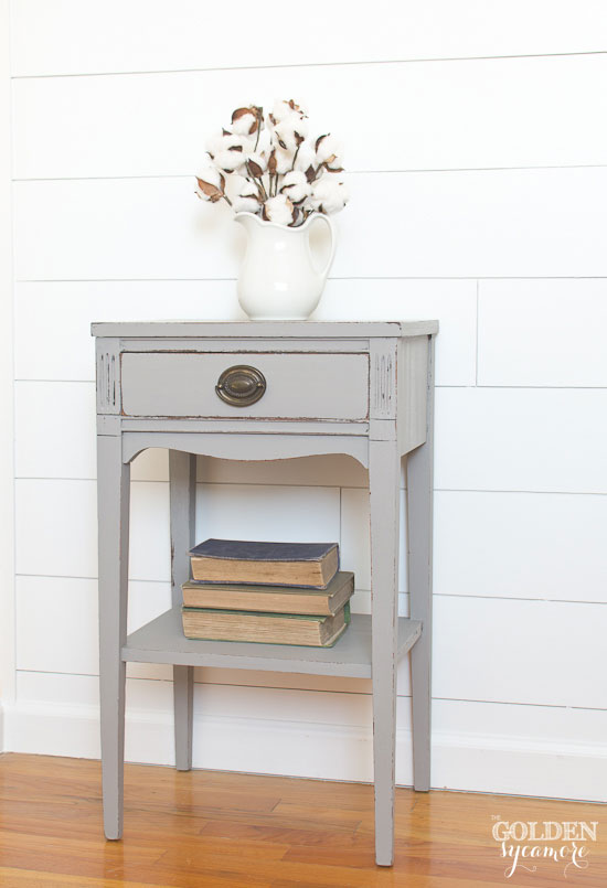 Milk painted gray end table - thegoldensycamore.com