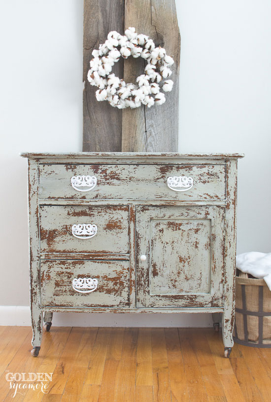 Super chippy milk painted wash stand turned small end table dresser