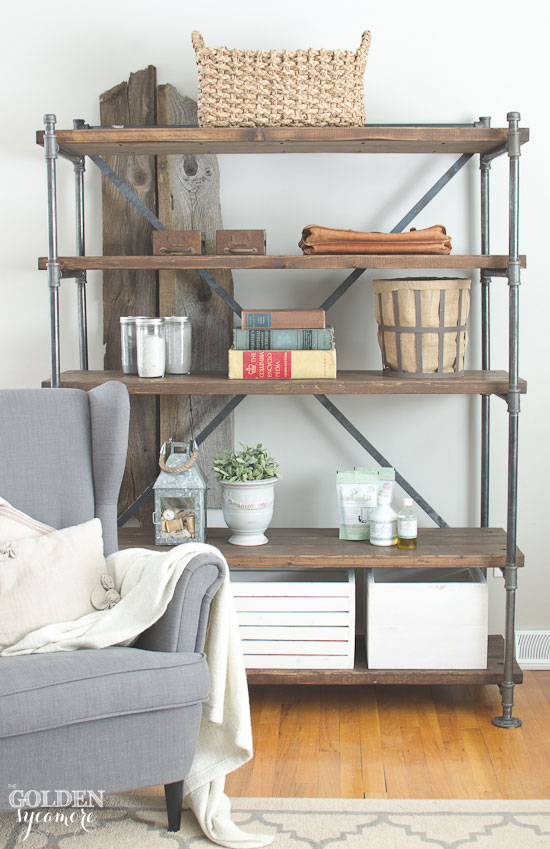 industrial pipe shelving unit the golden sycamore. Black Bedroom Furniture Sets. Home Design Ideas