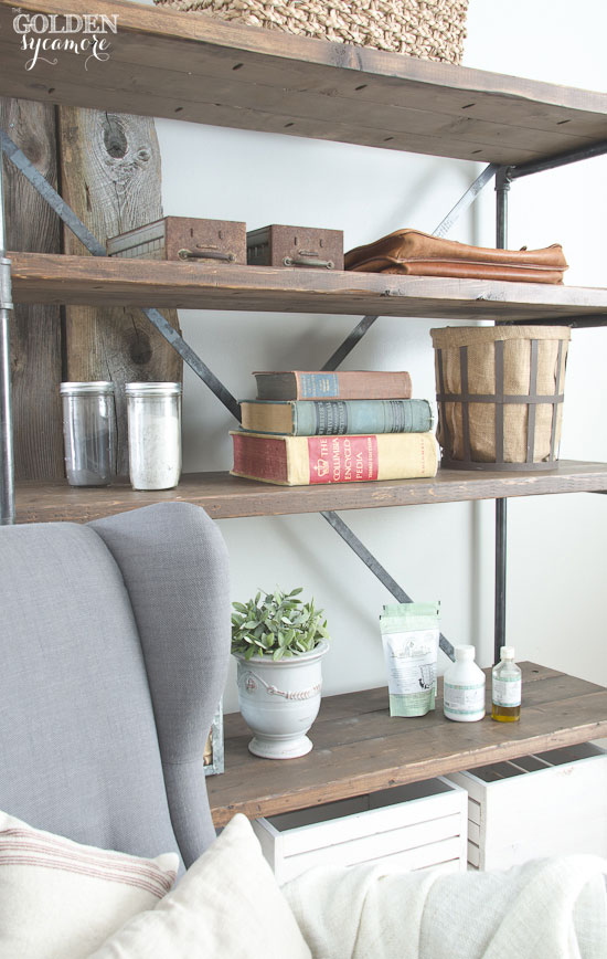Industrial Study Room: Industrial Pipe Shelving Unit