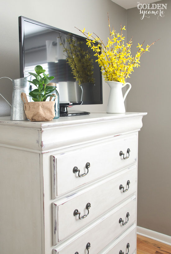 Cobblestone Light Tan Painted Dresser With Liming Wax Greenery On Bedroom  Dresser