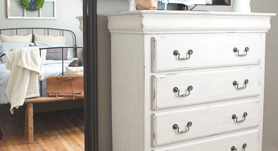 Cottage bedroom with painted dresser