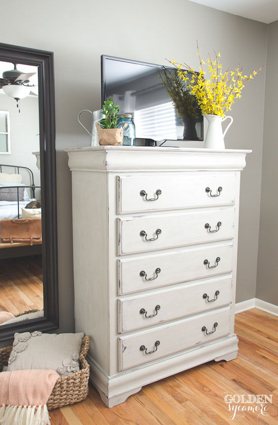 Painted dresser in light beige