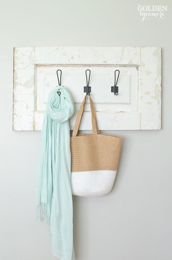 Beautiful chippy handmade coat hanger