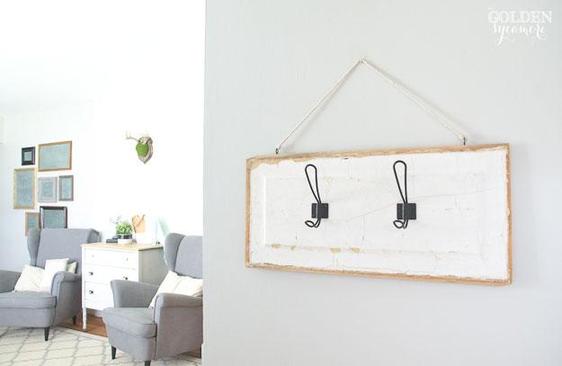 DIY hanging key hanger in foyer