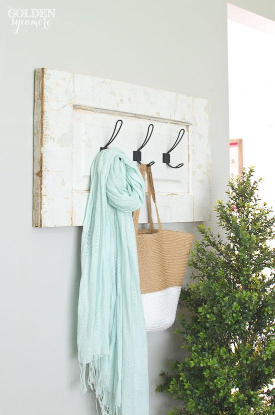 Gorgeous DIY handmade chippy coat rack