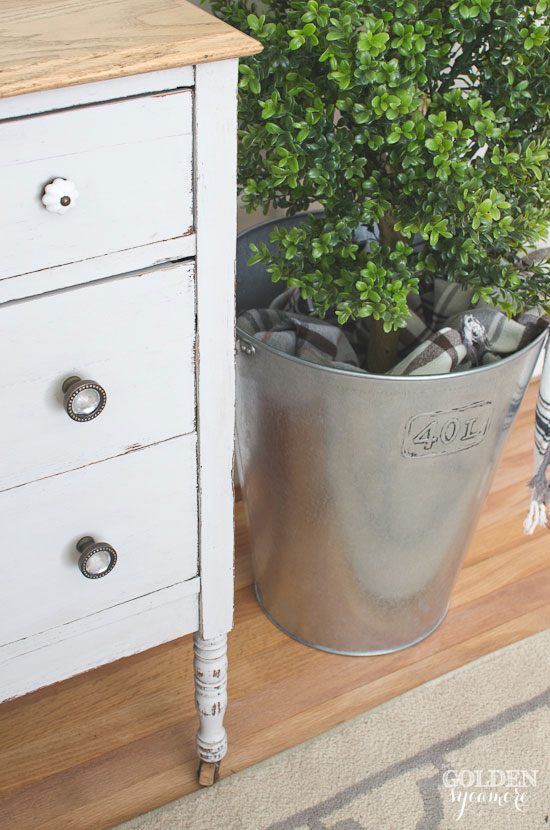 Painted gray dresser with wood top