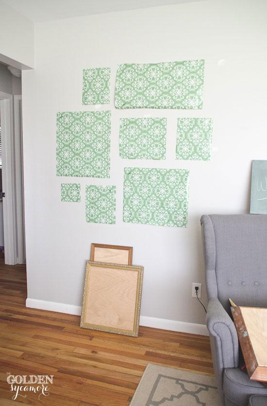 Prepping chalkboard gallery wall setup