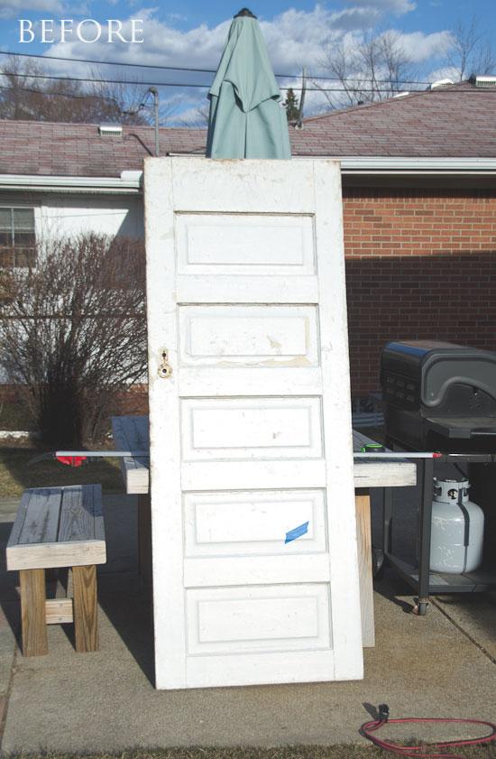 Salvaged vintage 5 panel door